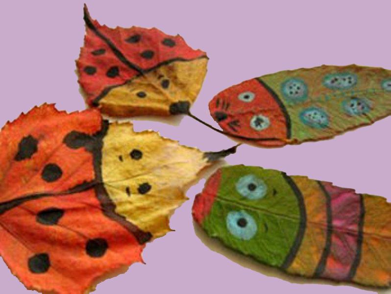 Őszi falelevelekből állatkák