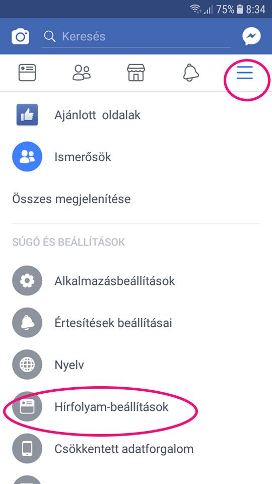 facebook beállítások