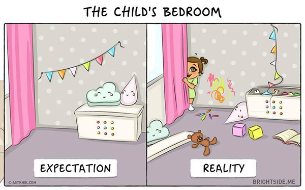 Elképzelés vs valóság: 9 rajz, ami megmutatja, milyen valójában az élet egy kisgyerekkel