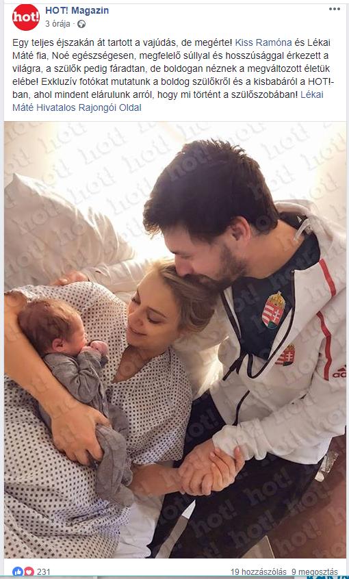Friss: Az első fotó Kiss Ramóna és Lékai Máté kisfiáról! Tündéri képen a kis Noé és büszke szülei