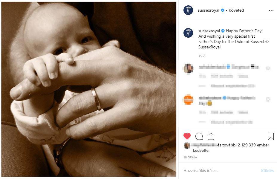 Itt a kis Archie! - Tündéri babafotót posztolt Harry herceg és Meghan Markle a vasárnapi apák napja apropóján