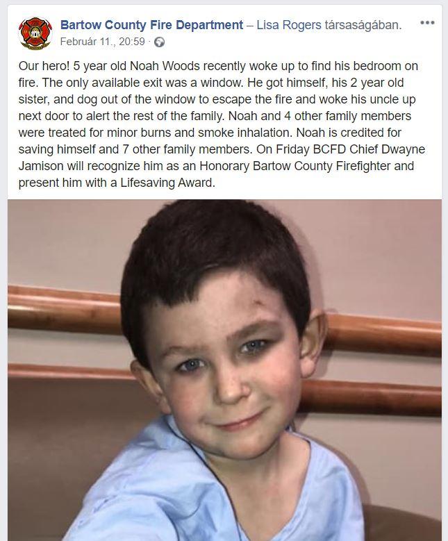 Igazi hős! 5 éves kisfiú mentette meg a kishúgát és az egész családot, miután kigyulladt a házuk éjjel