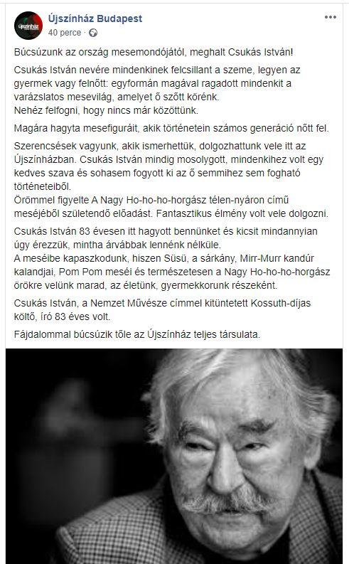 Meghalt Csukás István! A Süsü, a Pom Pom, a Nagy Ho-Ho-Ho-horgász és más mesék szerzője 83 éves volt