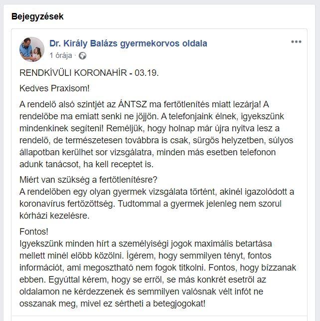 Koronavírusos gyerek miatt zártak le egy budapesti gyermekorvosi rendelőt - Egy gyermekorvos adott hírt róla