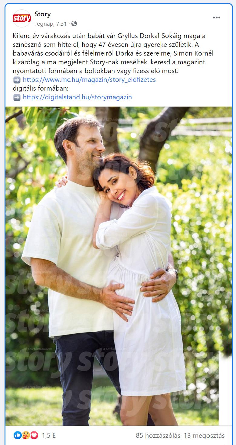 47 évesen ismét babát vár Gryllus Dorka, már szépen gömbölyödik a pocakja - Férjével a pici nevét is kitalálták