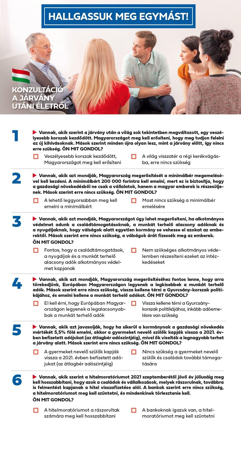 A kormány közzétette a nemzeti konzultáció összes kérdését - Ezekre várják a választ augusztus 25-ig