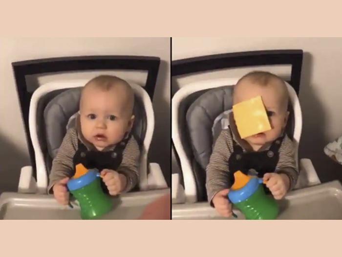 Itt a legújabb kihívás: Dobj egy szelet sajtot a gyereked arcába és figyeld, mi történik! - Vicces vagy felháborító?
